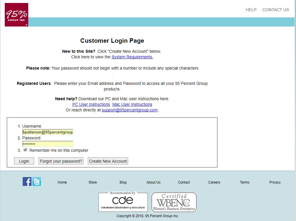 95 Percent Group Customer Log in Page
